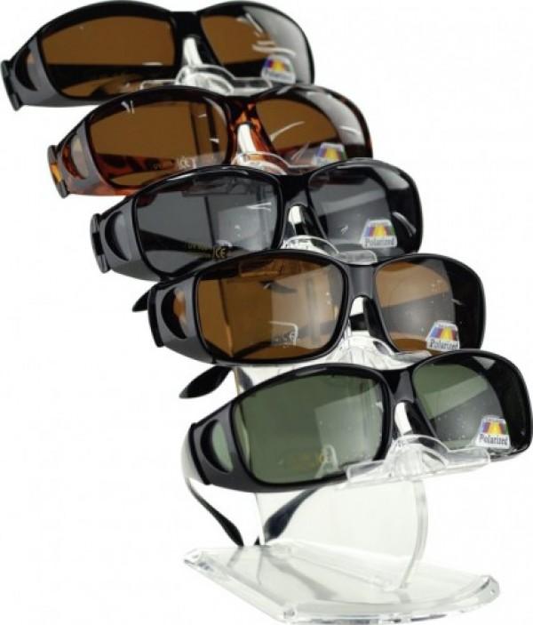 Überbrillen Überzieh-Sonnenbrillen Schwarz mit grünen Polarisierenden Gläsern